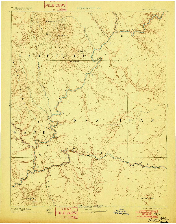 USGS 1:250000-SCALE QUADRANGLE FOR HENRY MOUNTAINS, UT 1892
