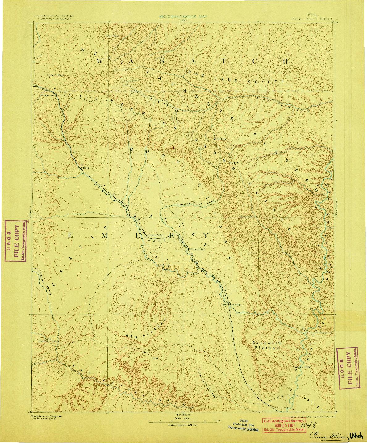 USGS 1:250000-SCALE QUADRANGLE FOR PRICE RIVER, UT 1886
