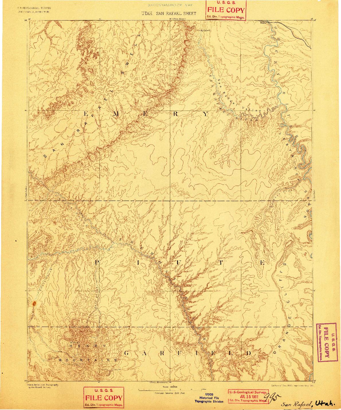 USGS 1:250000-SCALE QUADRANGLE FOR SAN RAFAEL, UT 1885