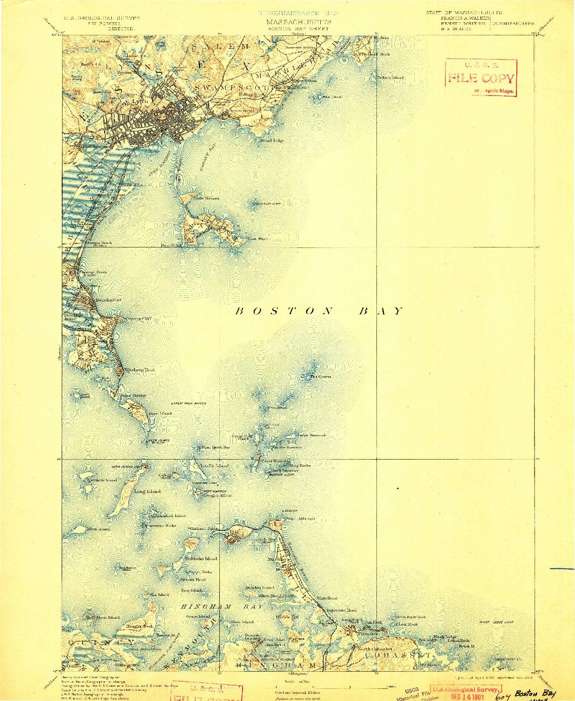 USGS 1:62500-SCALE QUADRANGLE FOR BOSTON BAY, MA 1892