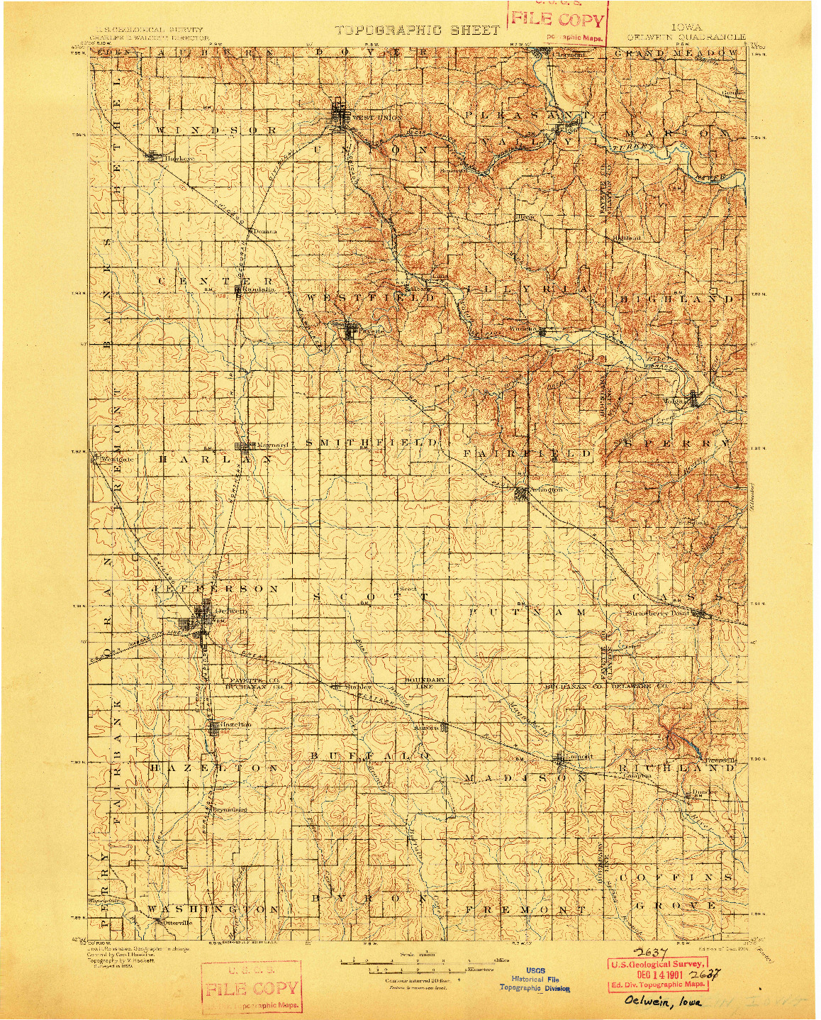 USGS 1:125000-SCALE QUADRANGLE FOR OELWEIN, IA 1901