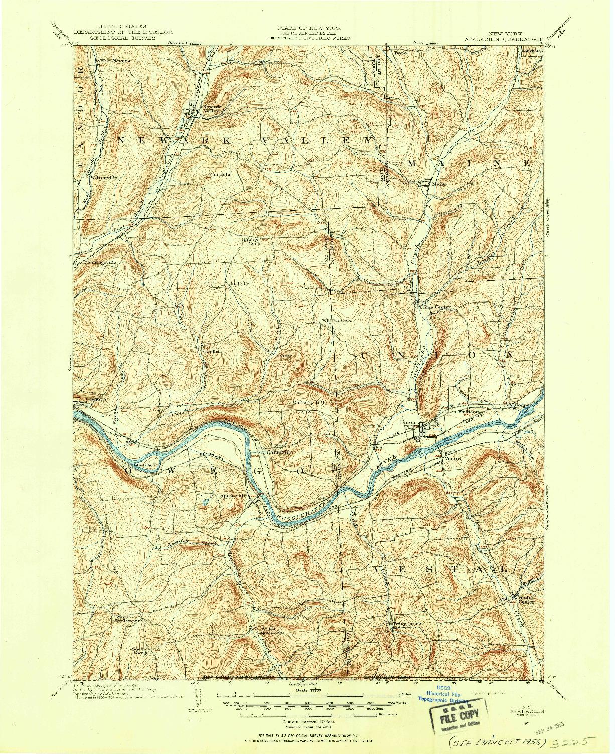 USGS 1:62500-SCALE QUADRANGLE FOR APALACHIN, NY 1901