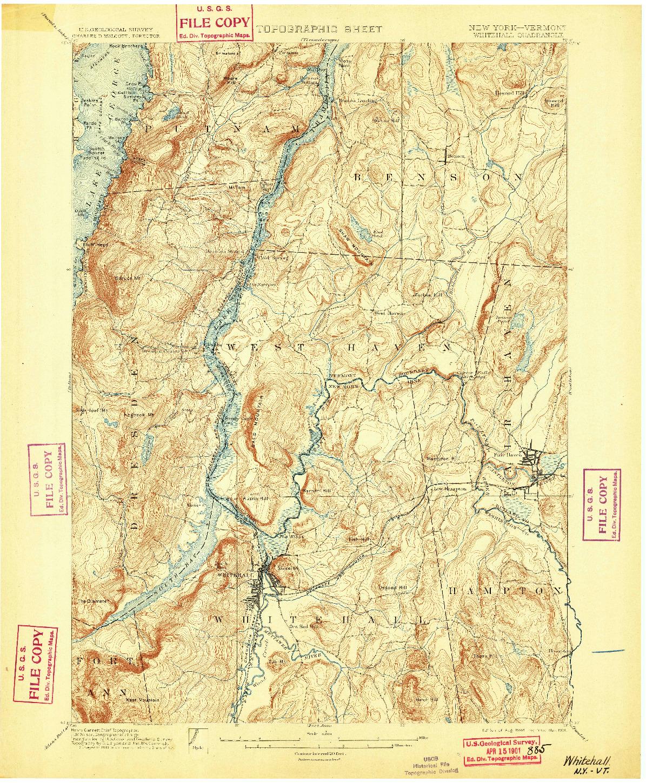 USGS 1:62500-SCALE QUADRANGLE FOR WHITEHALL, NY 1898