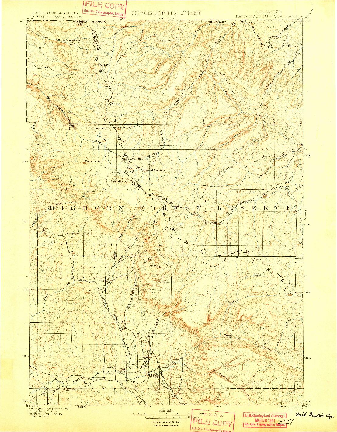USGS 1:125000-SCALE QUADRANGLE FOR BALD MOUNTAIN, WY 1901