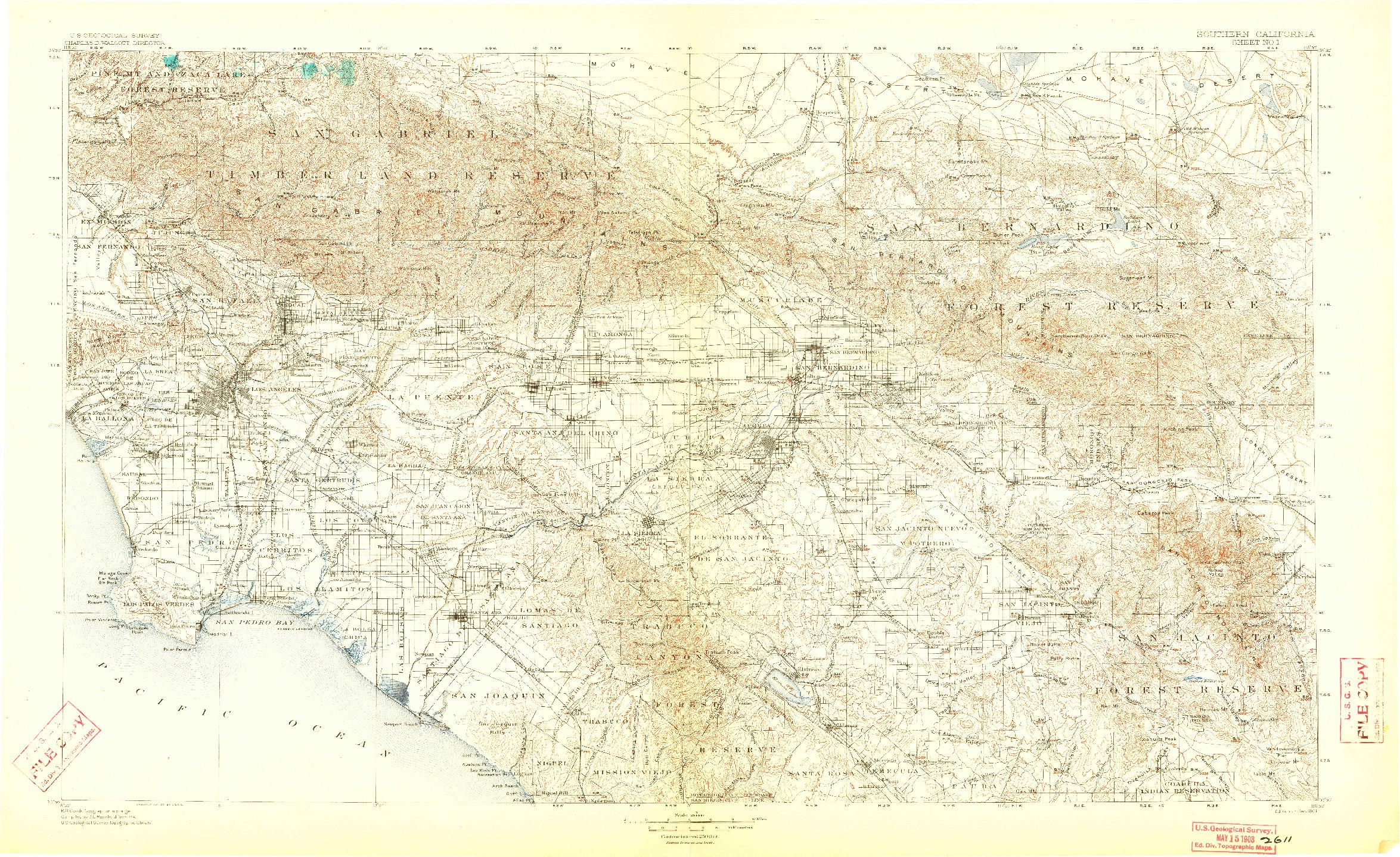 USGS 1:250000-SCALE QUADRANGLE FOR SOUTHERN CALIFORNIA SHEET NO. 1, CA 1901
