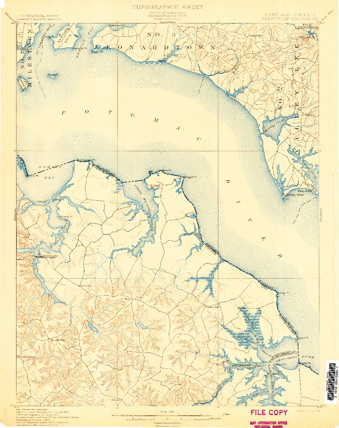USGS 1:62500-SCALE QUADRANGLE FOR PINEY POINT, MD 1901