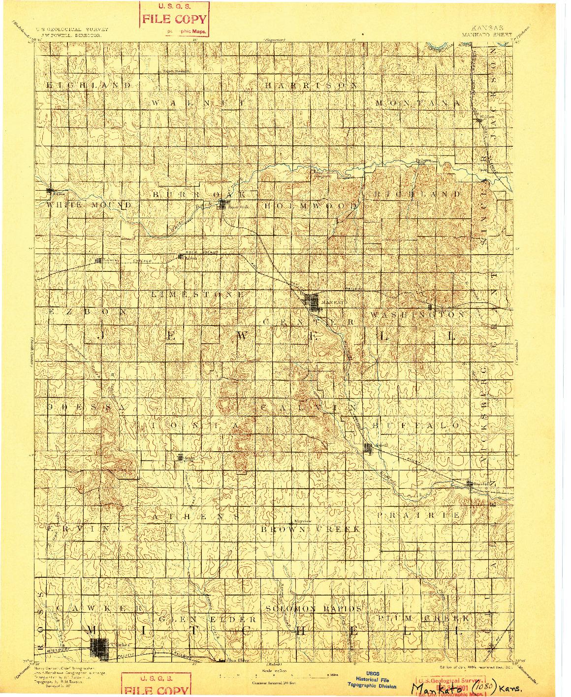 USGS 1:125000-SCALE QUADRANGLE FOR MANKATO, KS 1894