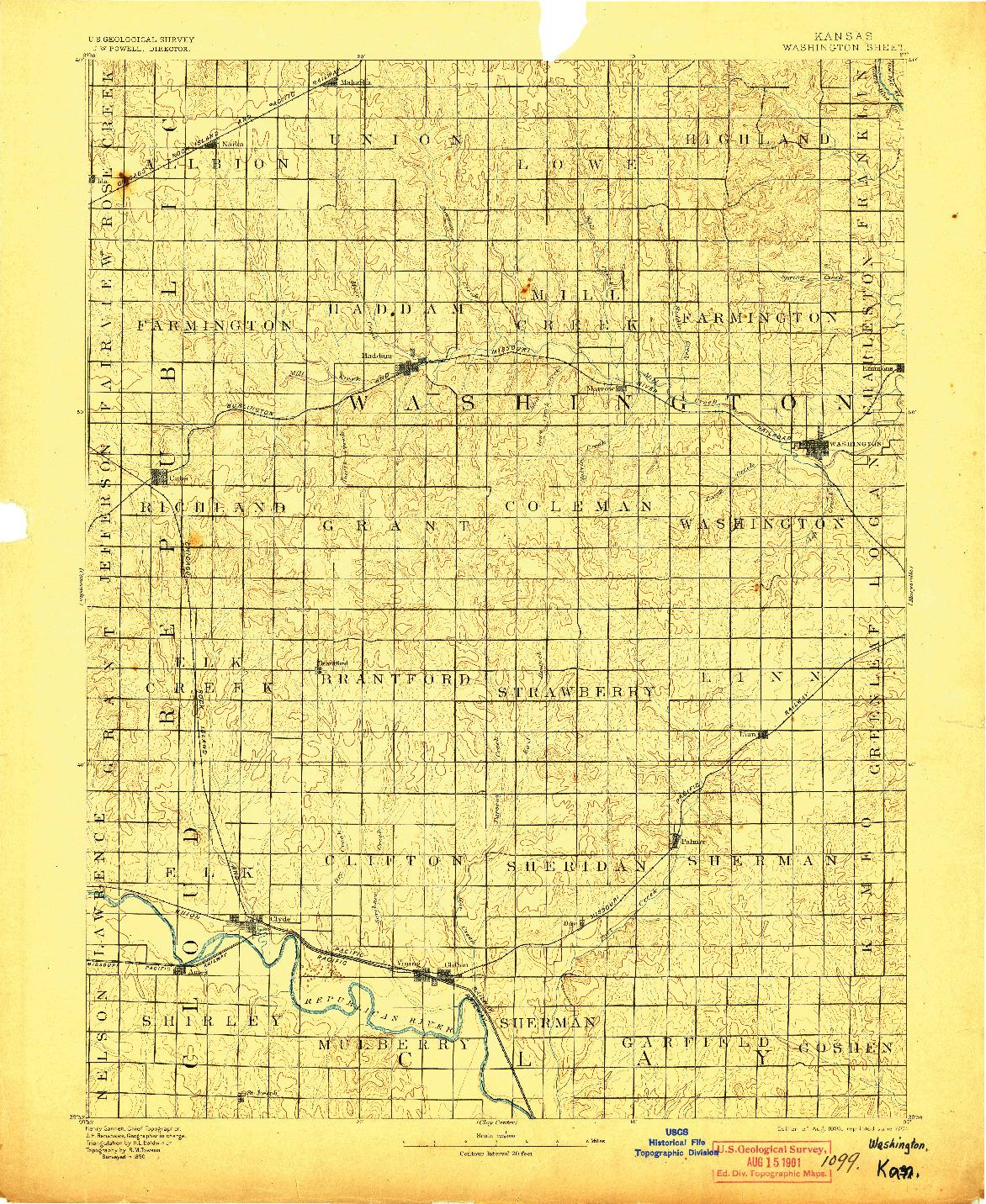 USGS 1:125000-SCALE QUADRANGLE FOR WASHINGTON, KS 1893