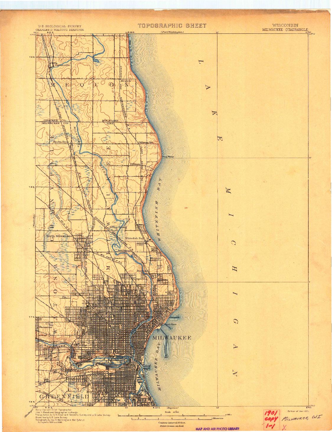 USGS 1:62500-SCALE QUADRANGLE FOR MILWAUKEE, WI 1901