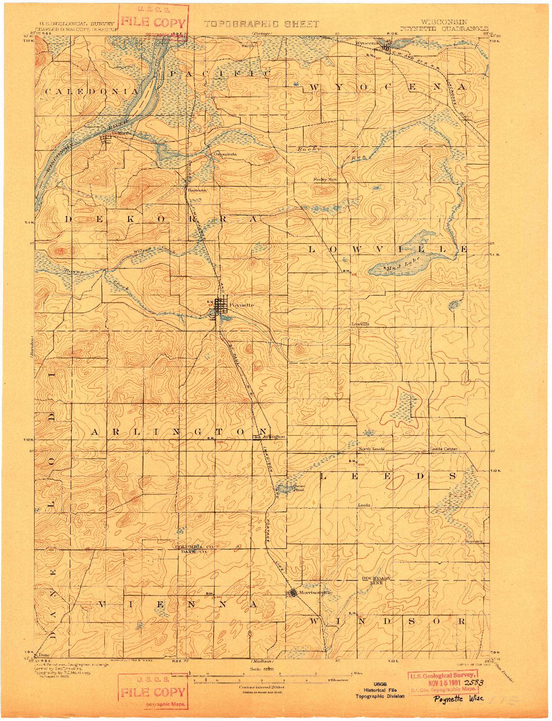 USGS 1:62500-SCALE QUADRANGLE FOR POYNETTE, WI 1901