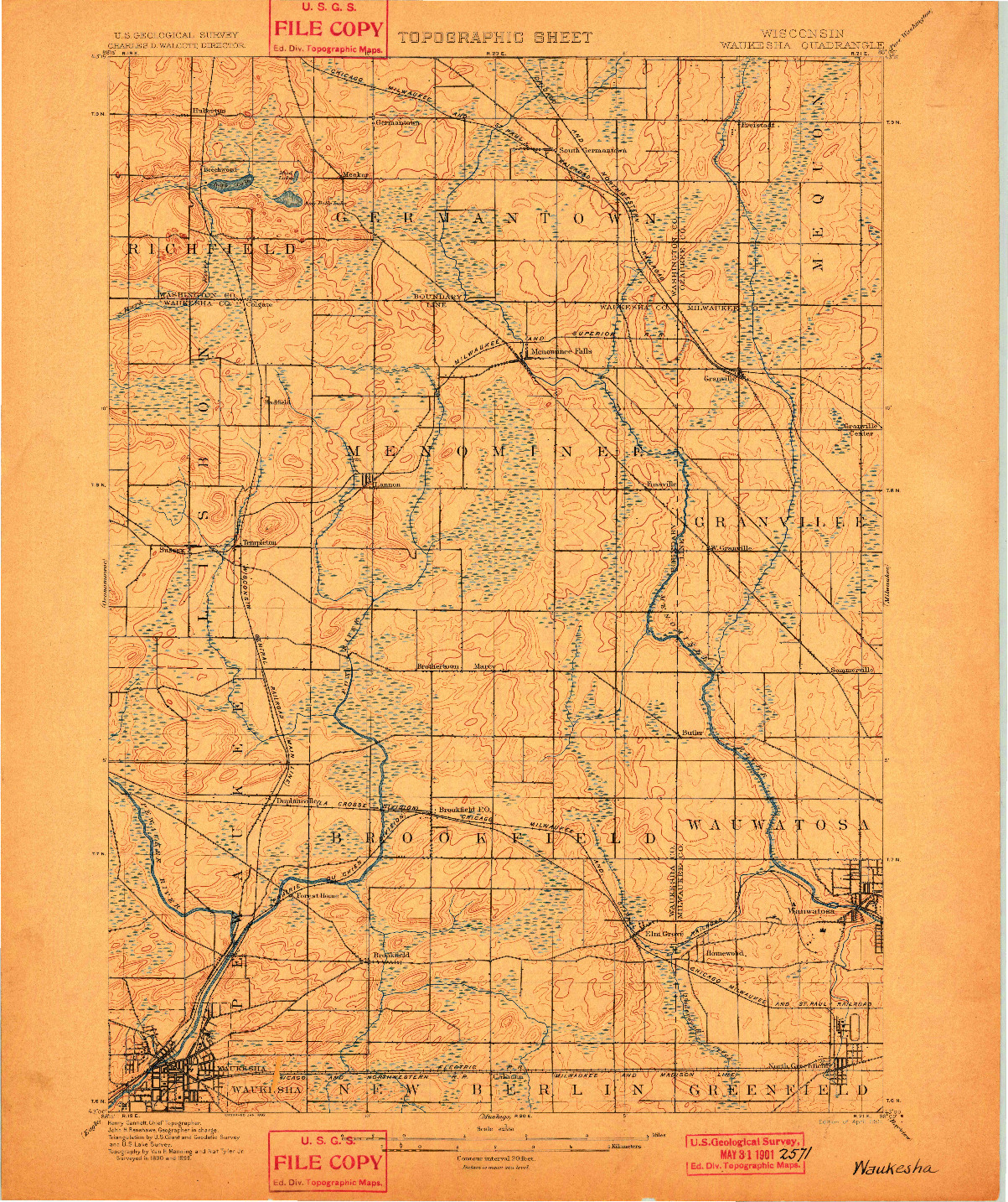 USGS 1:62500-SCALE QUADRANGLE FOR WAUKESHA, WI 1901