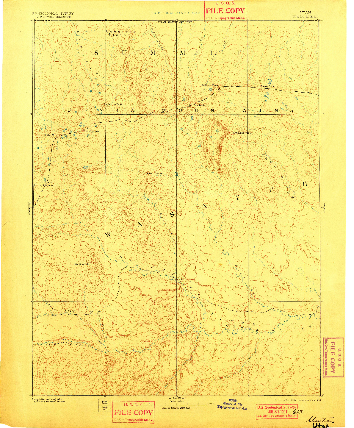 USGS 1:250000-SCALE QUADRANGLE FOR UINTA, UT 1885