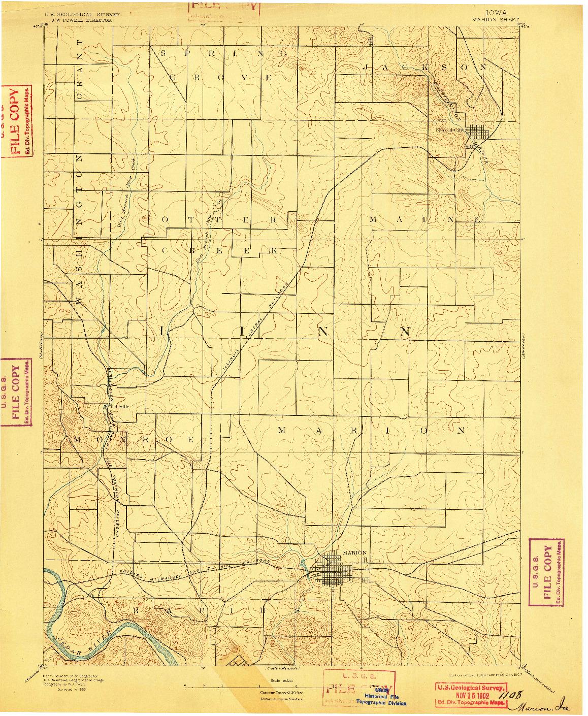 USGS 1:62500-SCALE QUADRANGLE FOR MARION, IA 1889