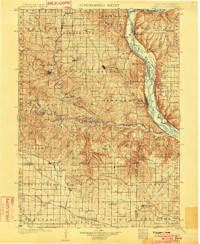 USGS 1:125000-SCALE QUADRANGLE FOR ELKADER, IA 1902
