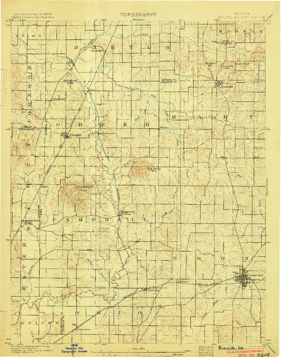 USGS 1:62500-SCALE QUADRANGLE FOR BOONVILLE, IN 1902