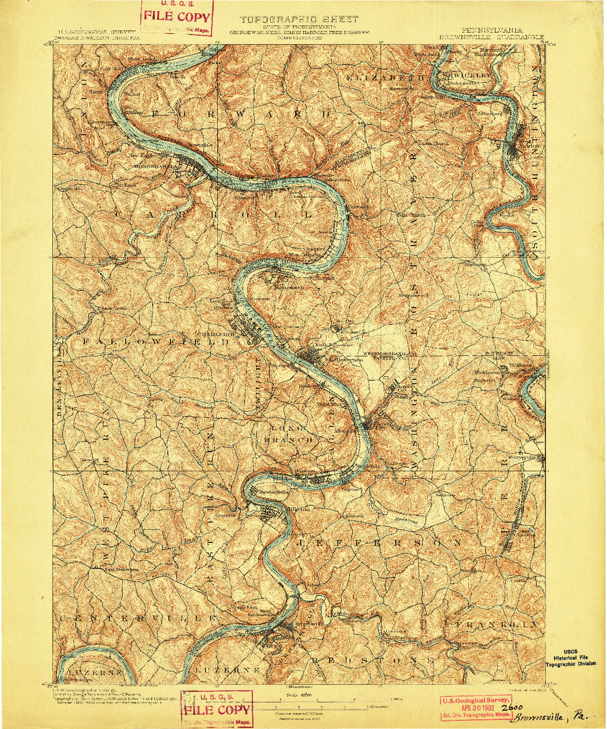 USGS 1:62500-SCALE QUADRANGLE FOR BROWNSVILLE, PA 1902