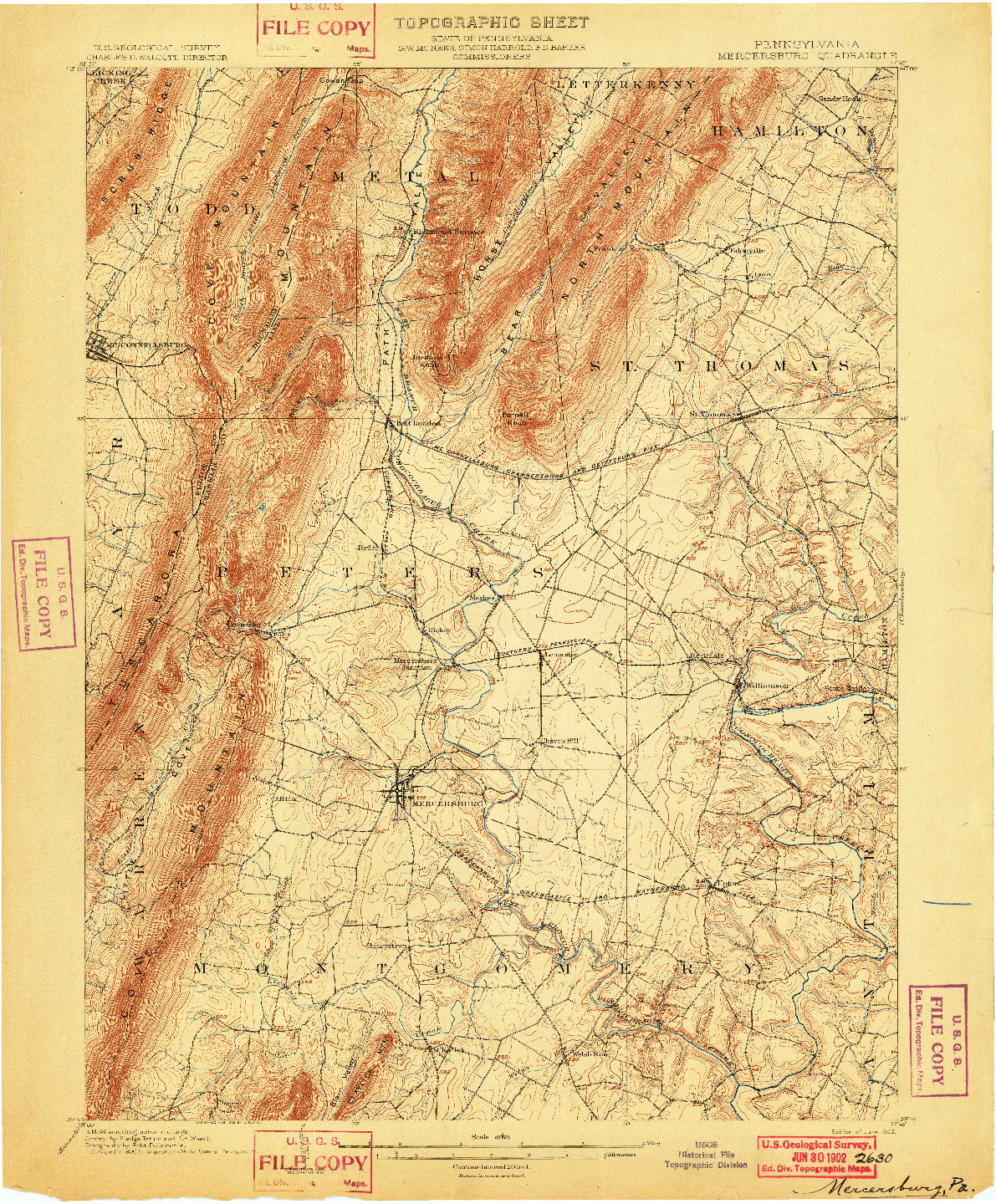 USGS 1:62500-SCALE QUADRANGLE FOR MERCERSBURG, PA 1902