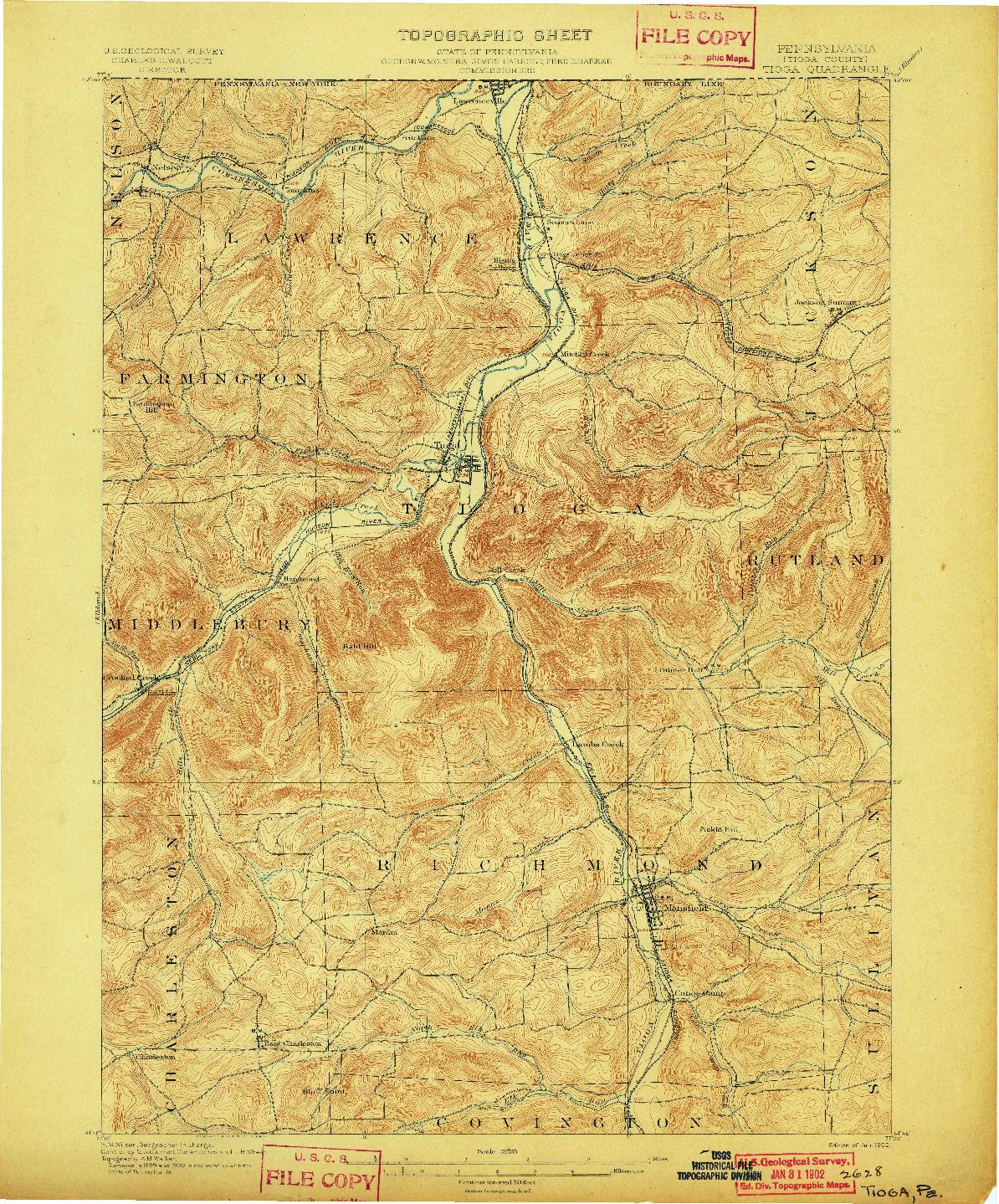 USGS 1:62500-SCALE QUADRANGLE FOR TIOGA, PA 1902