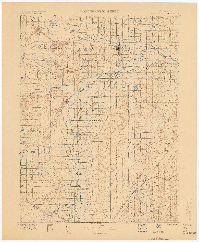 USGS 1:125000-SCALE QUADRANGLE FOR GREELEY, CO 1902