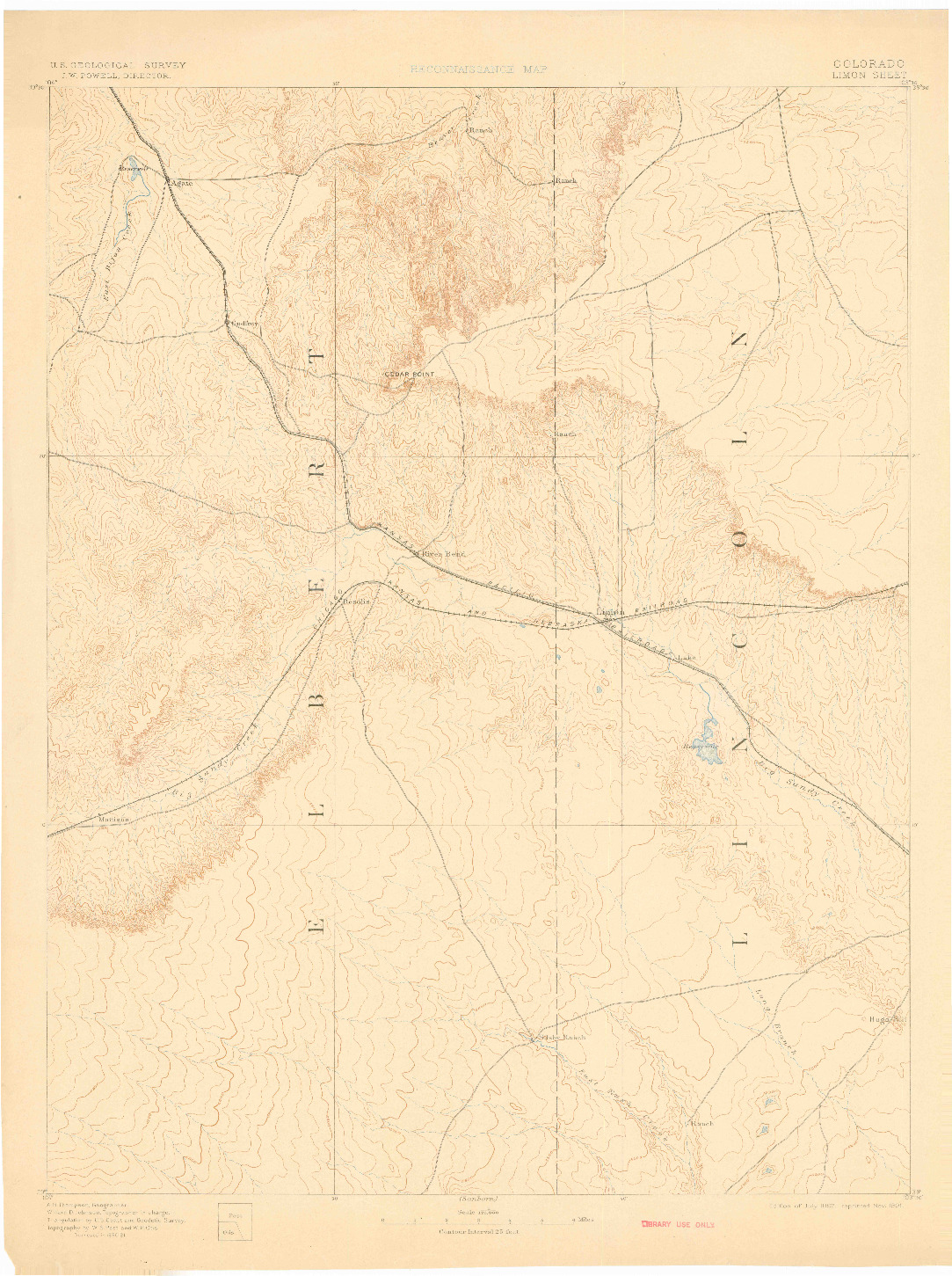USGS 1:125000-SCALE QUADRANGLE FOR LIMON, CO 1892