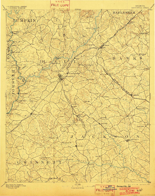 USGS 1:125000-SCALE QUADRANGLE FOR GAINESVILLE, GA 1891