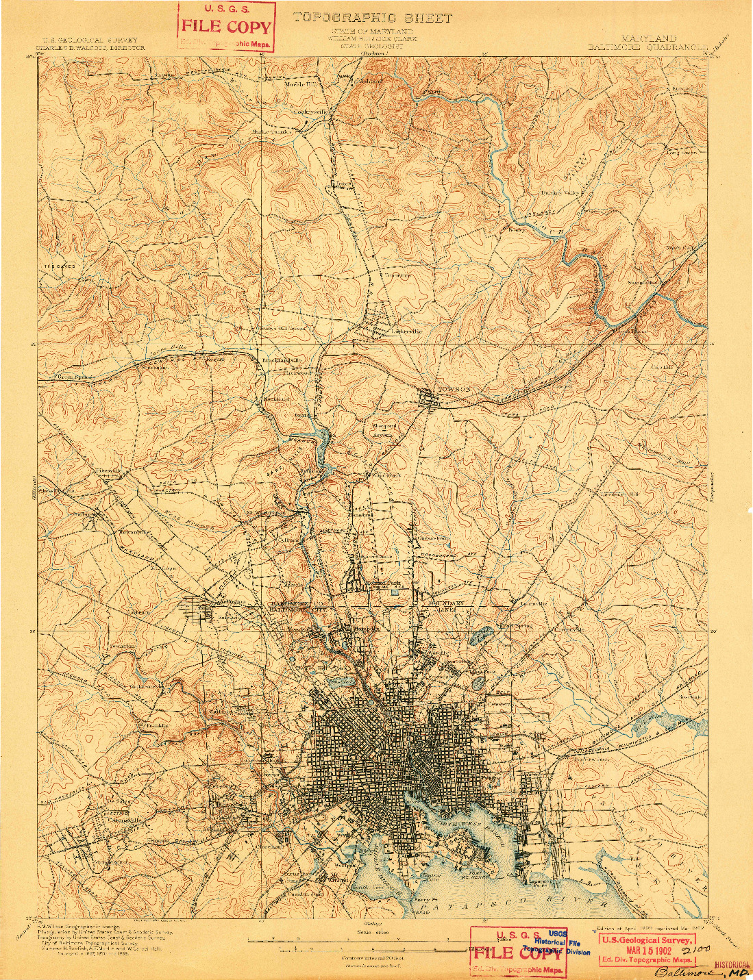 USGS 1:62500-SCALE QUADRANGLE FOR BALTIMORE, MD 1899