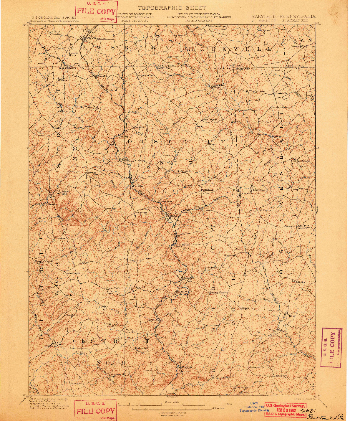 USGS 1:62500-SCALE QUADRANGLE FOR PARKTON, MD 1902