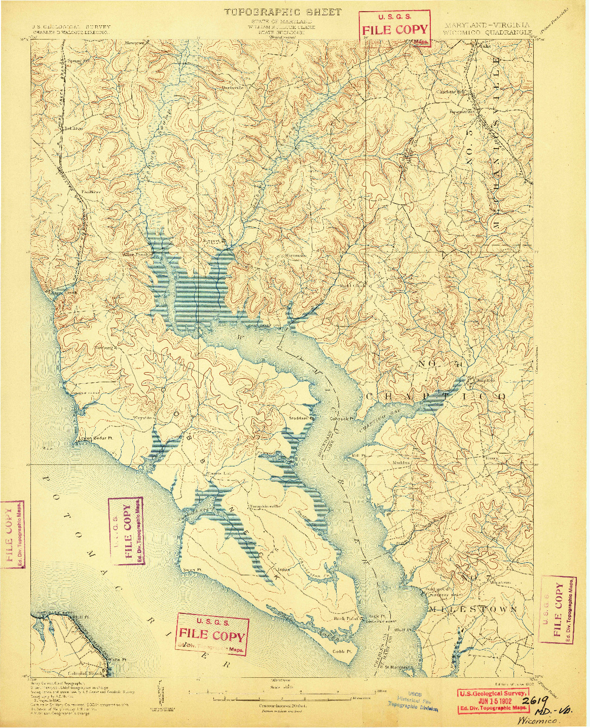 USGS 1:62500-SCALE QUADRANGLE FOR WICOMICO, MD 1902