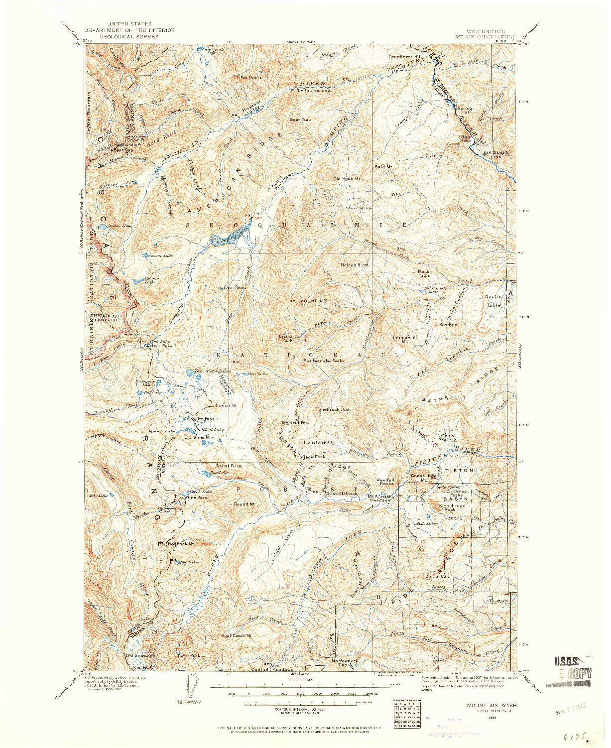 USGS 1:125000-SCALE QUADRANGLE FOR MOUNT AIX, WA 1902