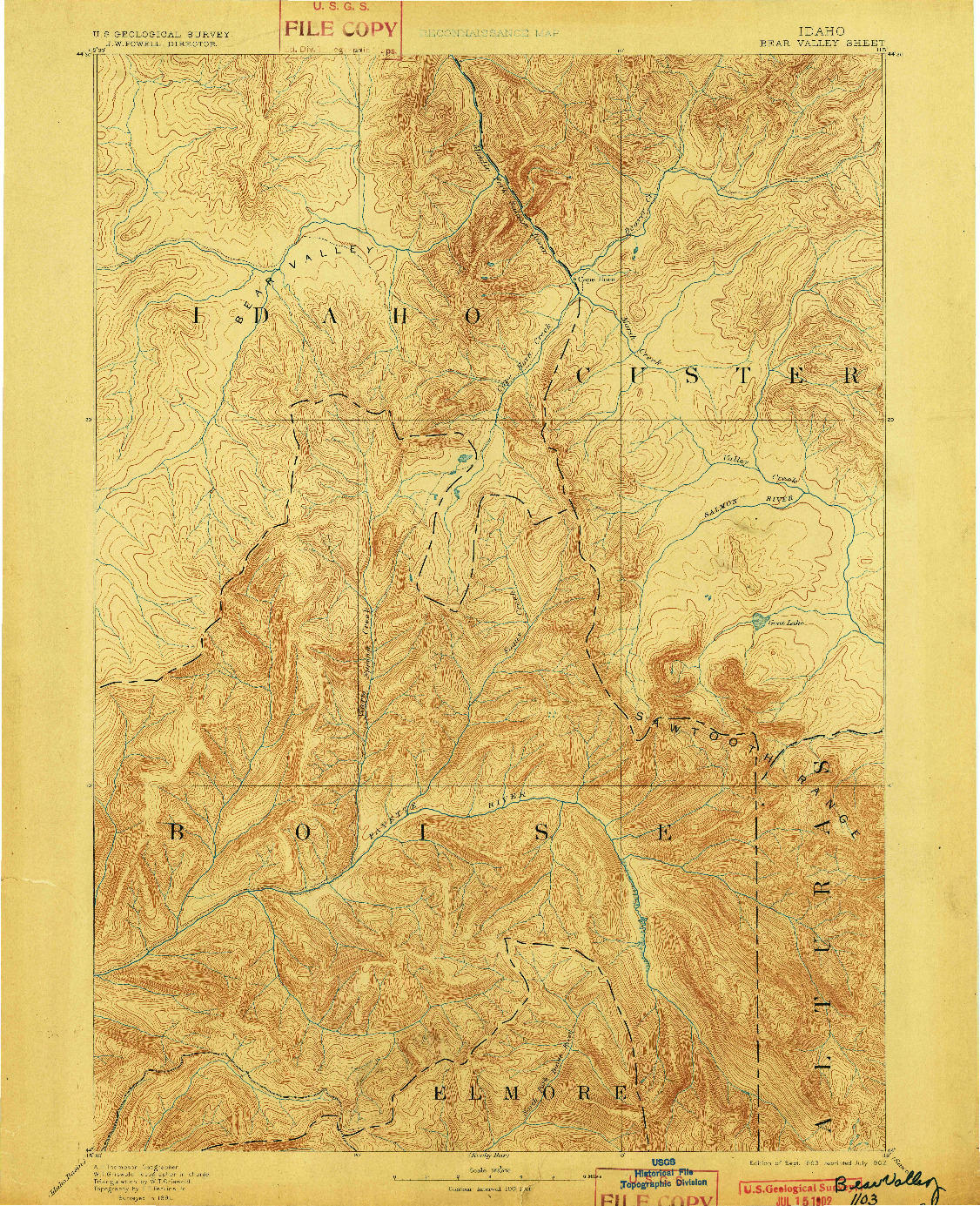 USGS 1:125000-SCALE QUADRANGLE FOR BEAR VALLEY, ID 1893
