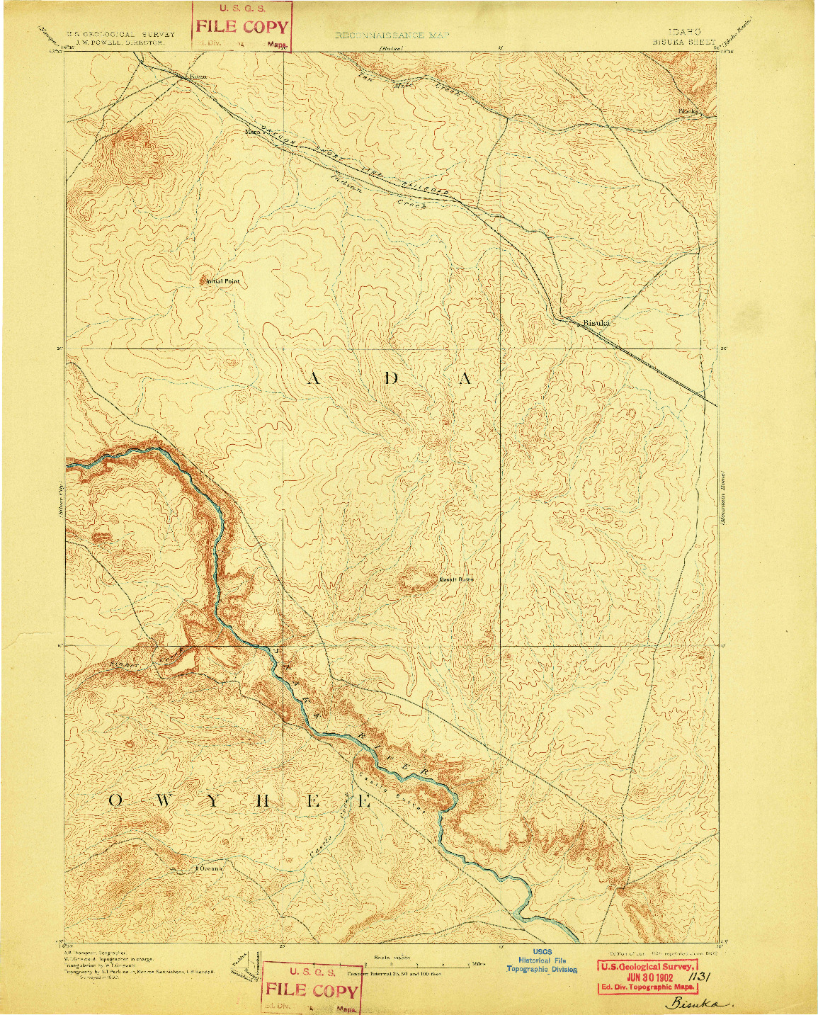 USGS 1:125000-SCALE QUADRANGLE FOR BISUKA, ID 1894