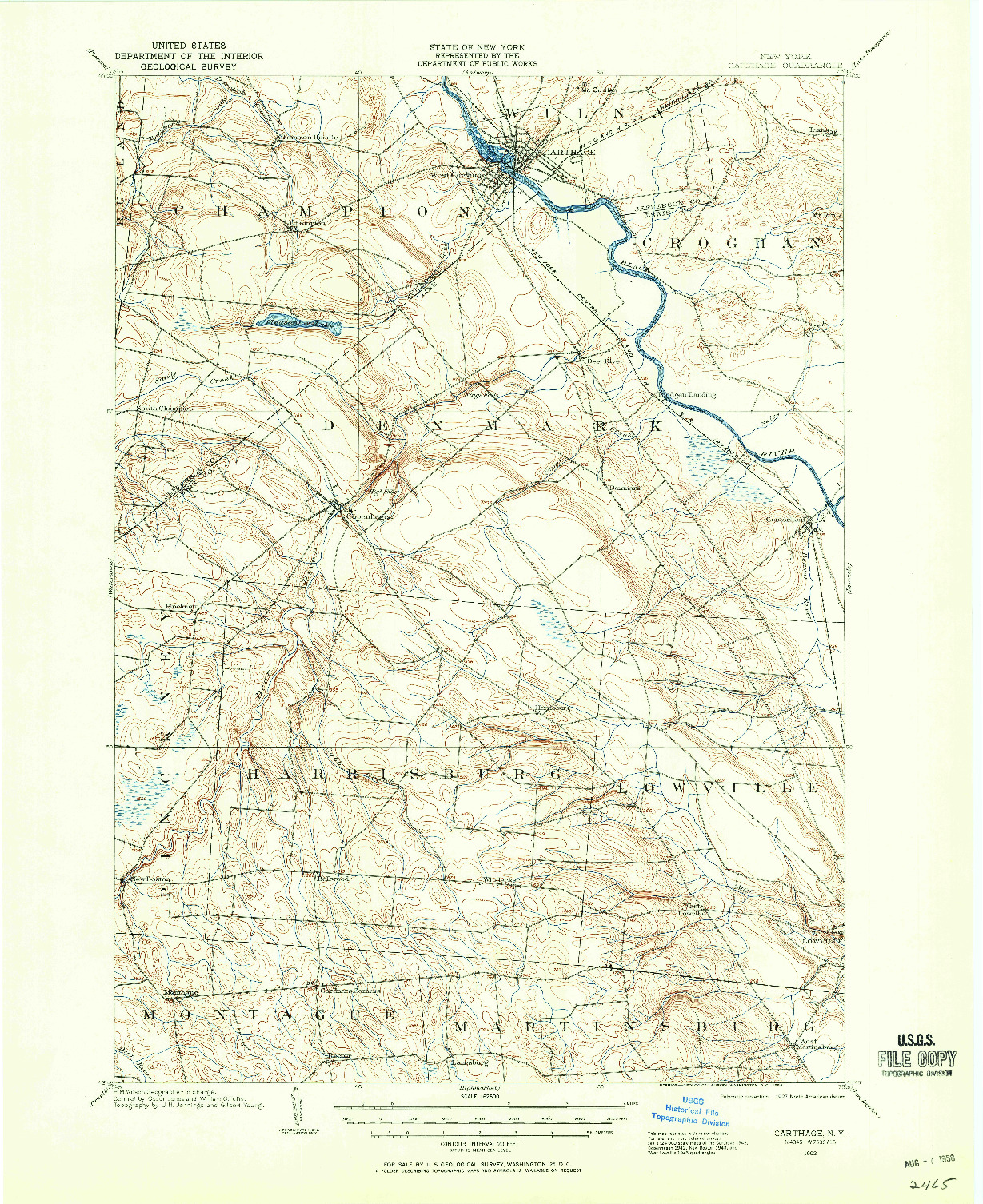 USGS 1:62500-SCALE QUADRANGLE FOR CARTHAGE, NY 1902