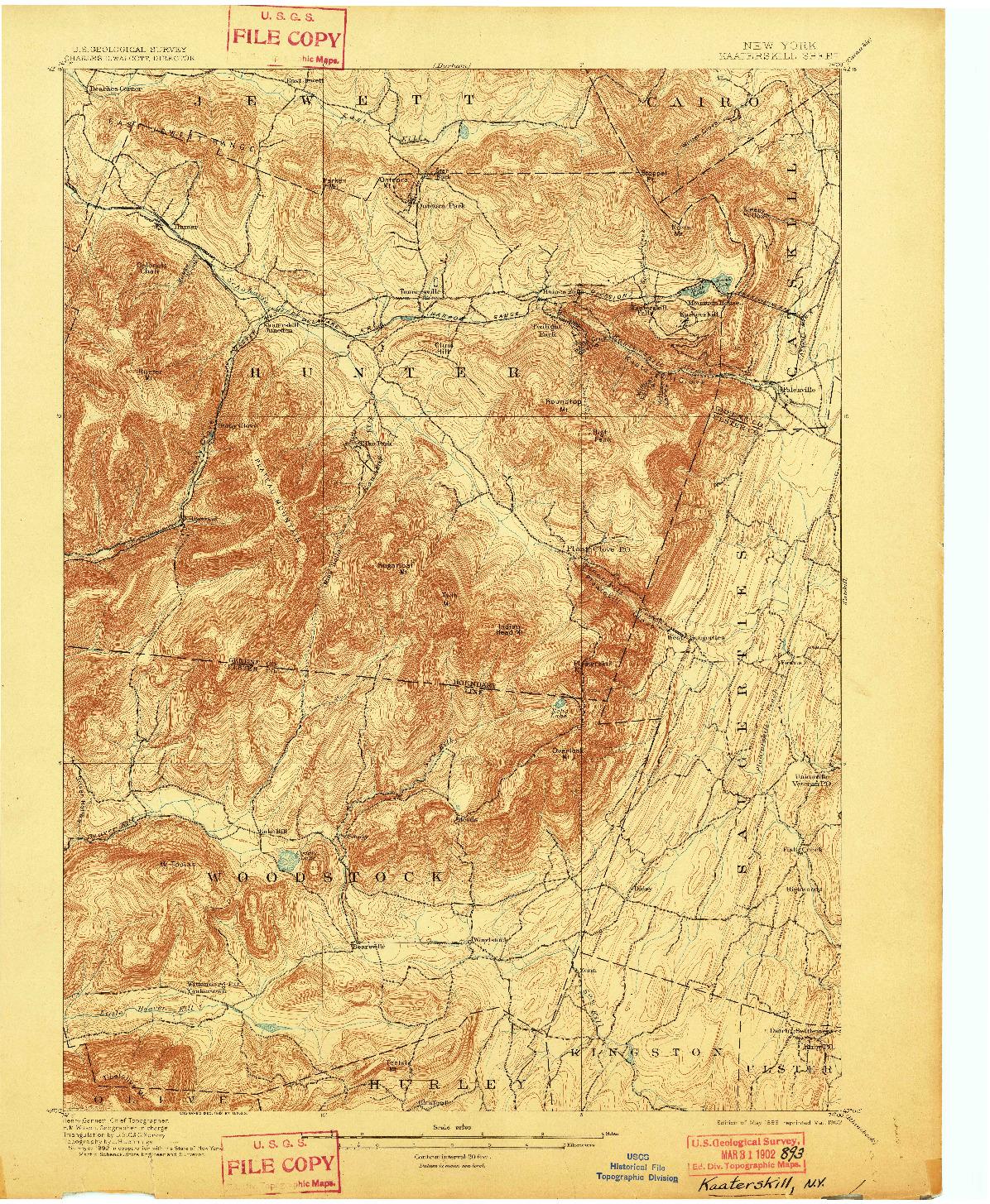 USGS 1:62500-SCALE QUADRANGLE FOR KAATERSKILL, NY 1899