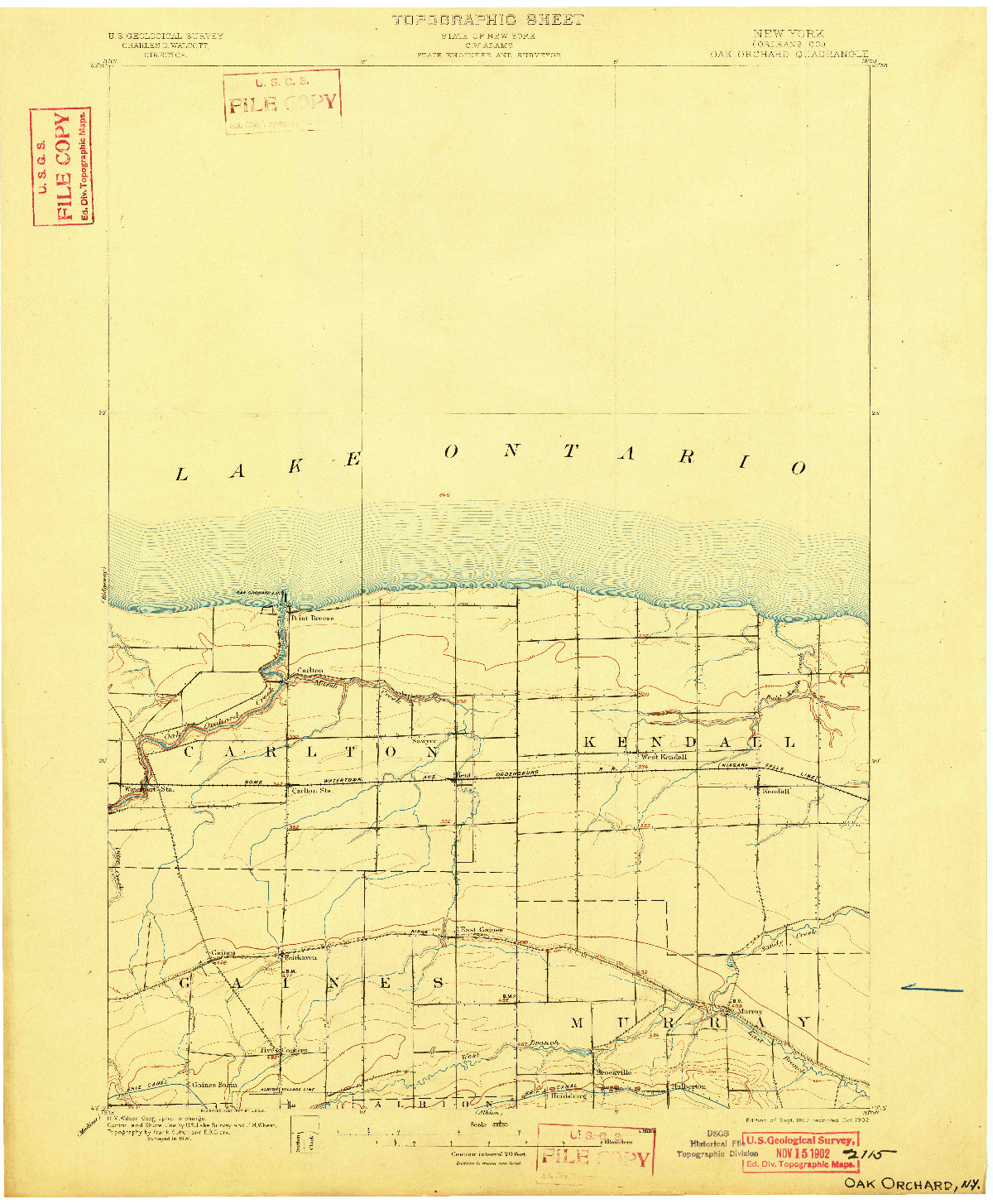 USGS 1:62500-SCALE QUADRANGLE FOR OAK ORCHARD, NY 1897