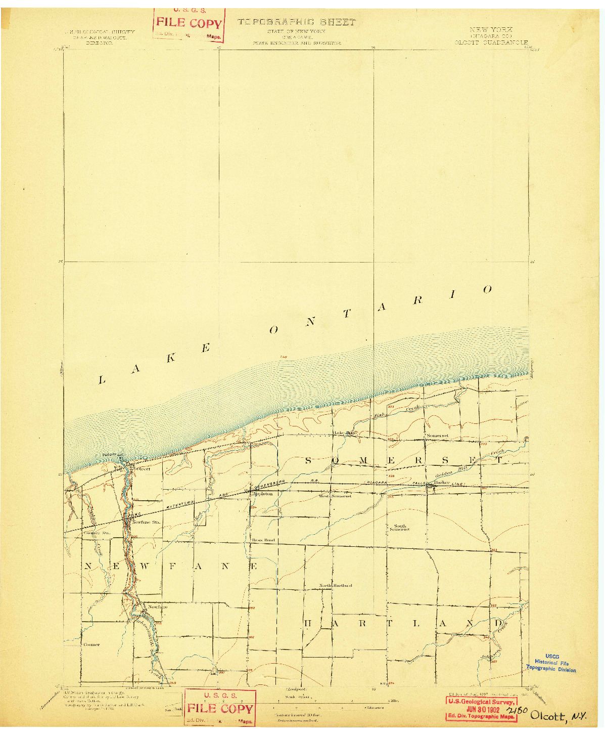 USGS 1:62500-SCALE QUADRANGLE FOR OLCOTT, NY 1897