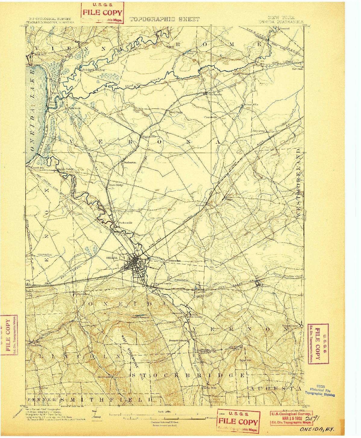 USGS 1:62500-SCALE QUADRANGLE FOR ONEIDA, NY 1902