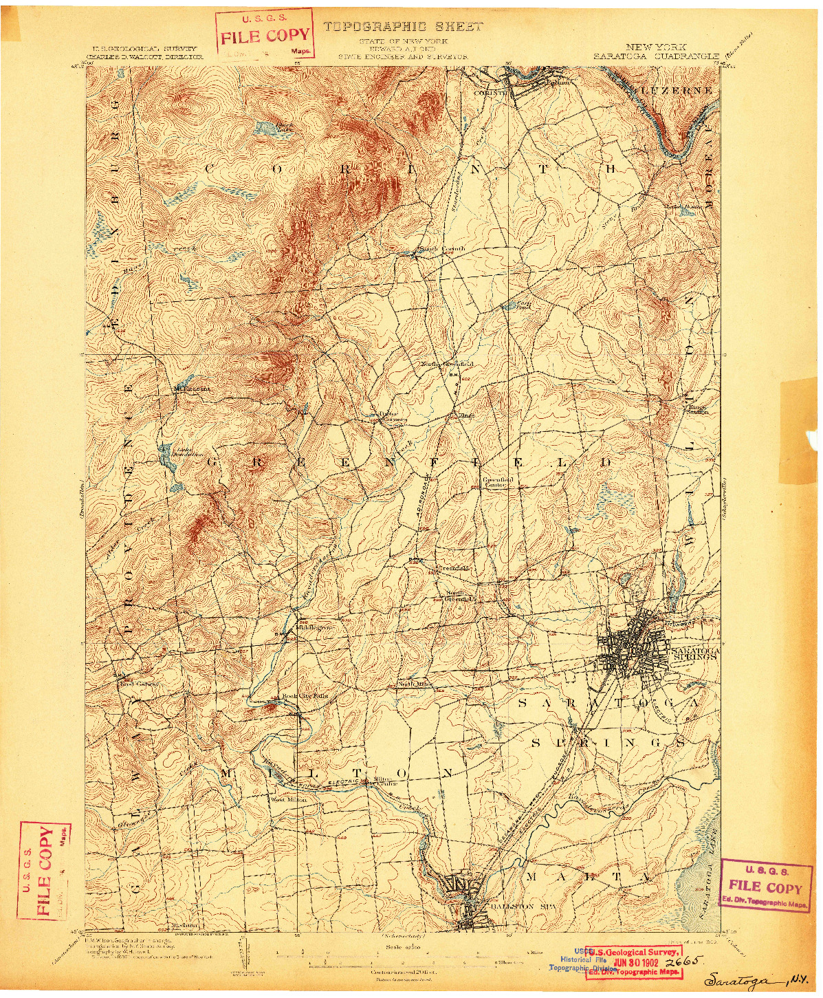 USGS 1:62500-SCALE QUADRANGLE FOR SARATOGA, NY 1902