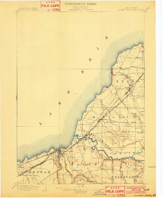USGS 1:62500-SCALE QUADRANGLE FOR SILVER CREEK, NY 1899