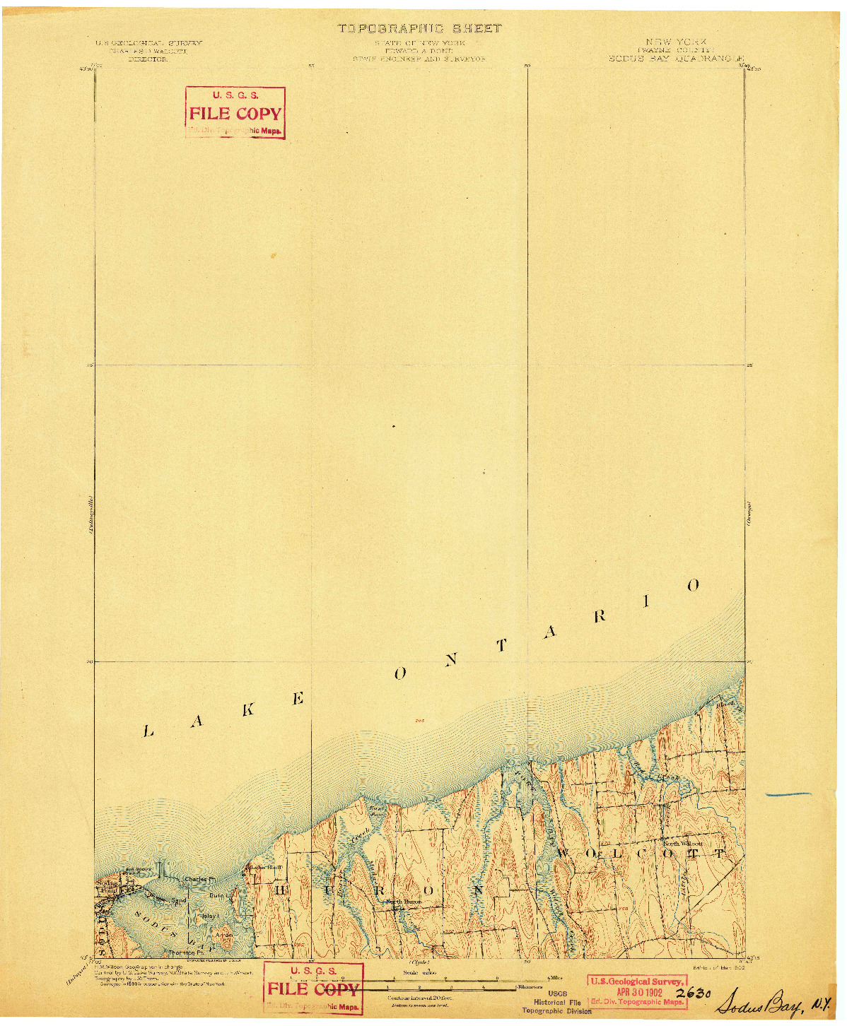 USGS 1:62500-SCALE QUADRANGLE FOR SODUS BAY, NY 1902