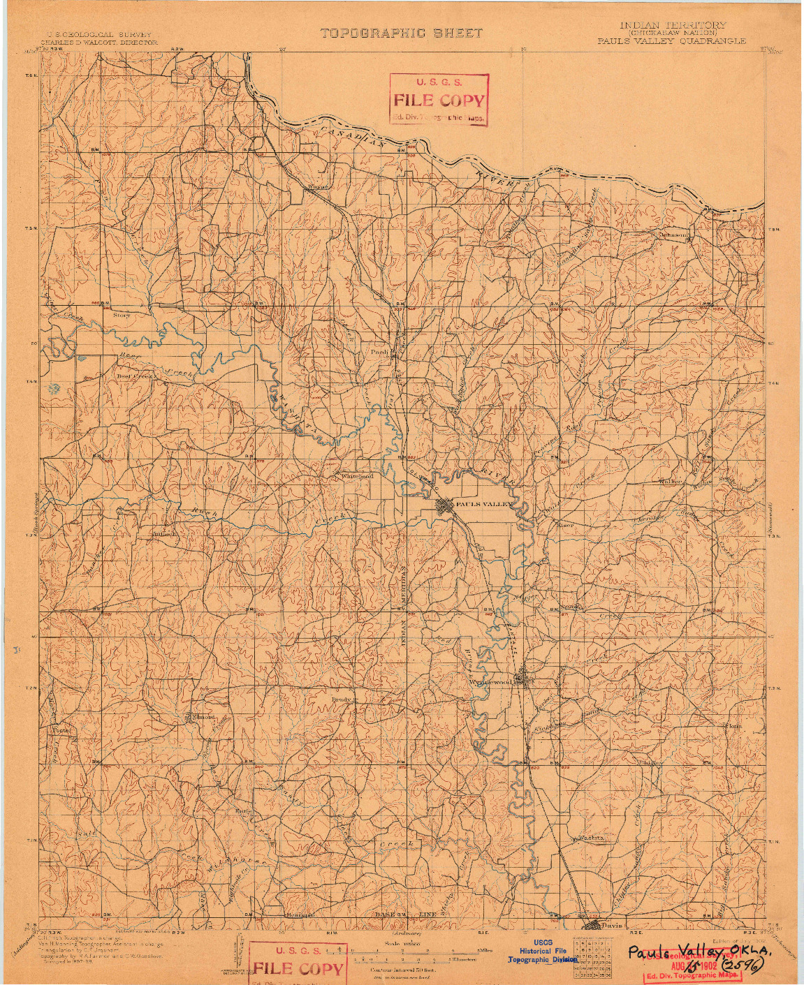 USGS 1:125000-SCALE QUADRANGLE FOR PAULS VALLEY, IT 1902