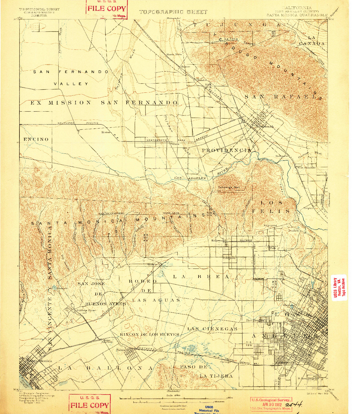 USGS 1:62500-SCALE QUADRANGLE FOR SANTA MONICA, CA 1902