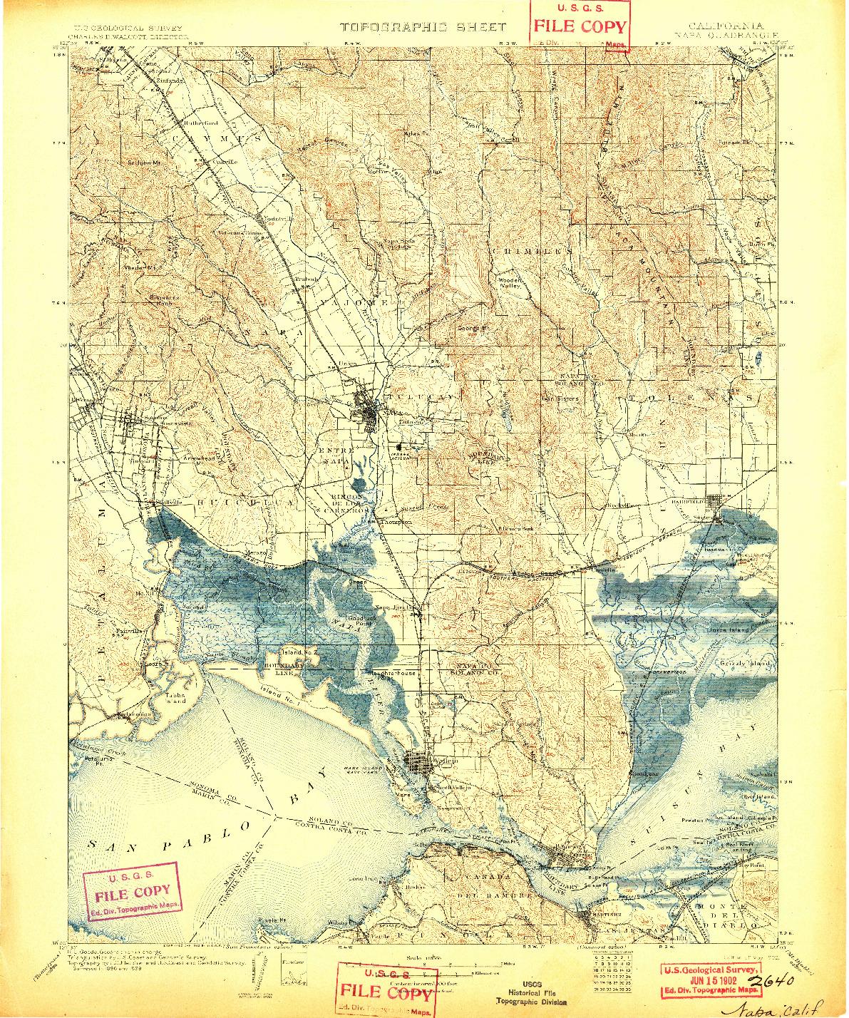 USGS 1:125000-SCALE QUADRANGLE FOR NAPA, CA 1902