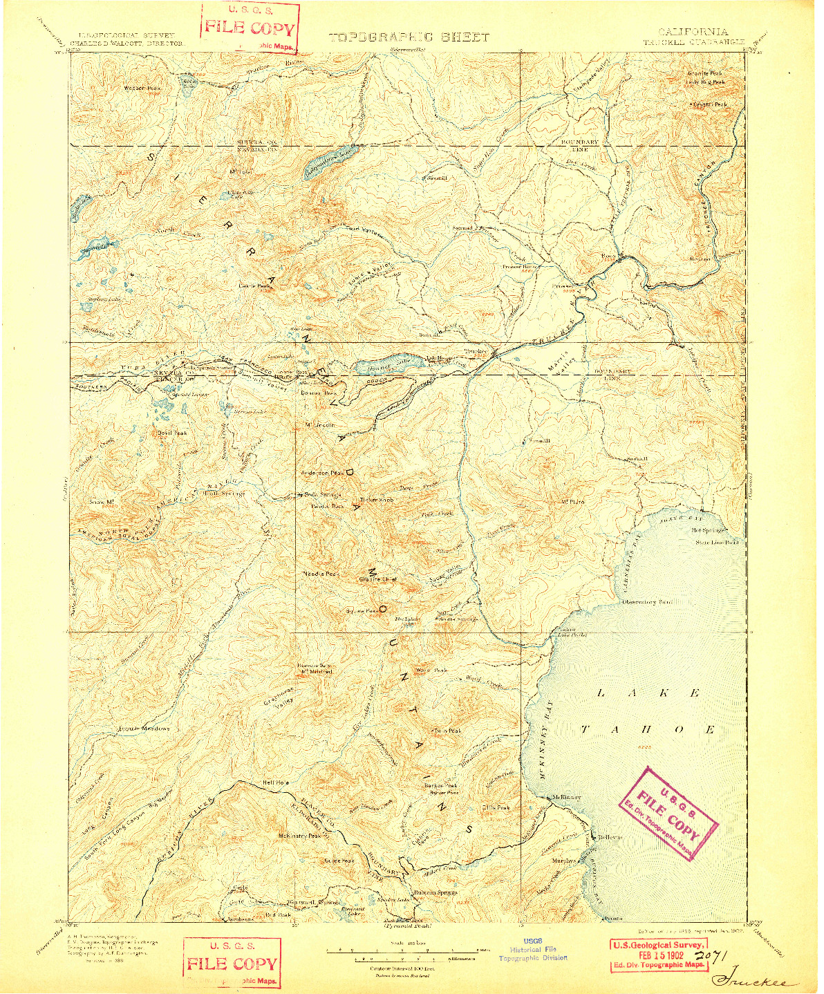 USGS 1:125000-SCALE QUADRANGLE FOR TRUCKEE, CA 1895