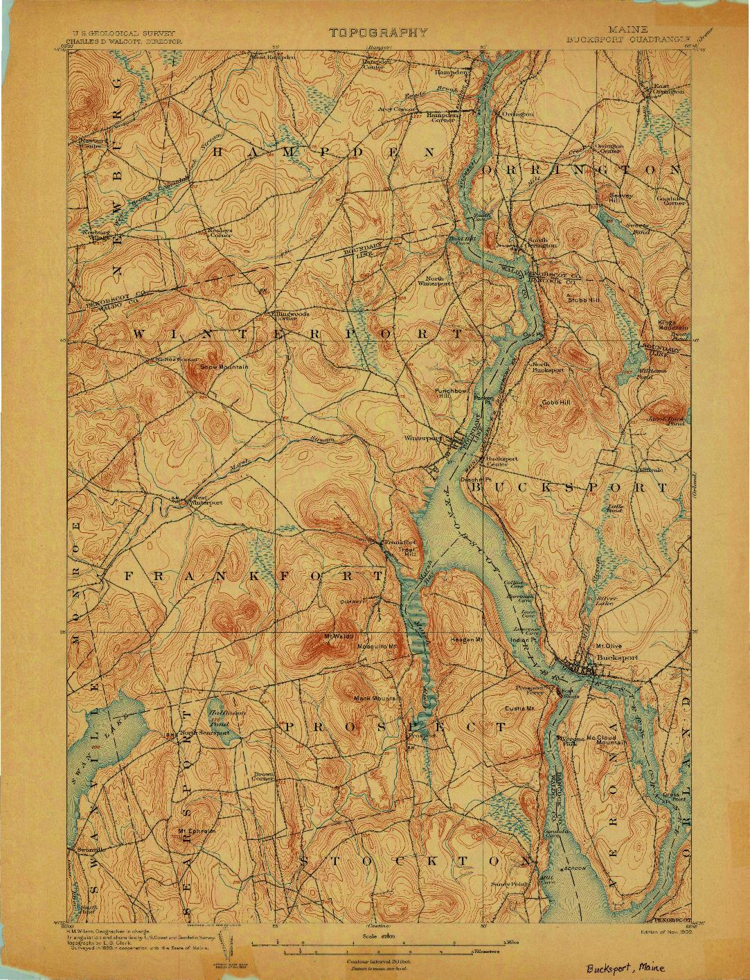 USGS 1:62500-SCALE QUADRANGLE FOR BUCKSPORT, ME 1902