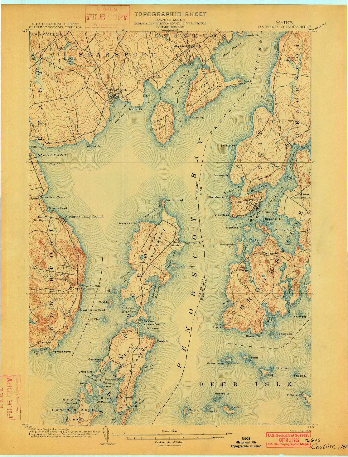USGS 1:62500-SCALE QUADRANGLE FOR CASTINE, ME 1902