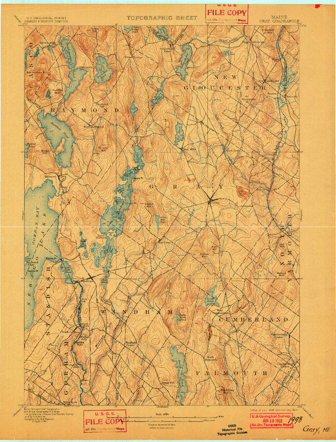 USGS 1:62500-SCALE QUADRANGLE FOR GRAY, ME 1898