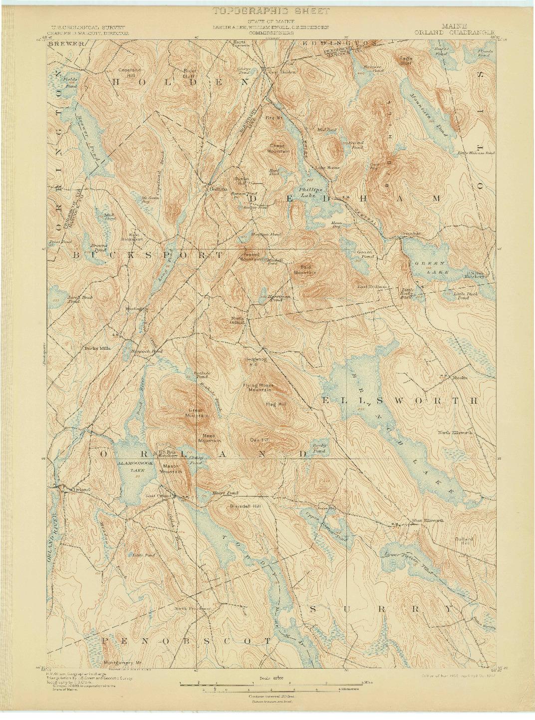 USGS 1:62500-SCALE QUADRANGLE FOR ORLAND, ME 1900