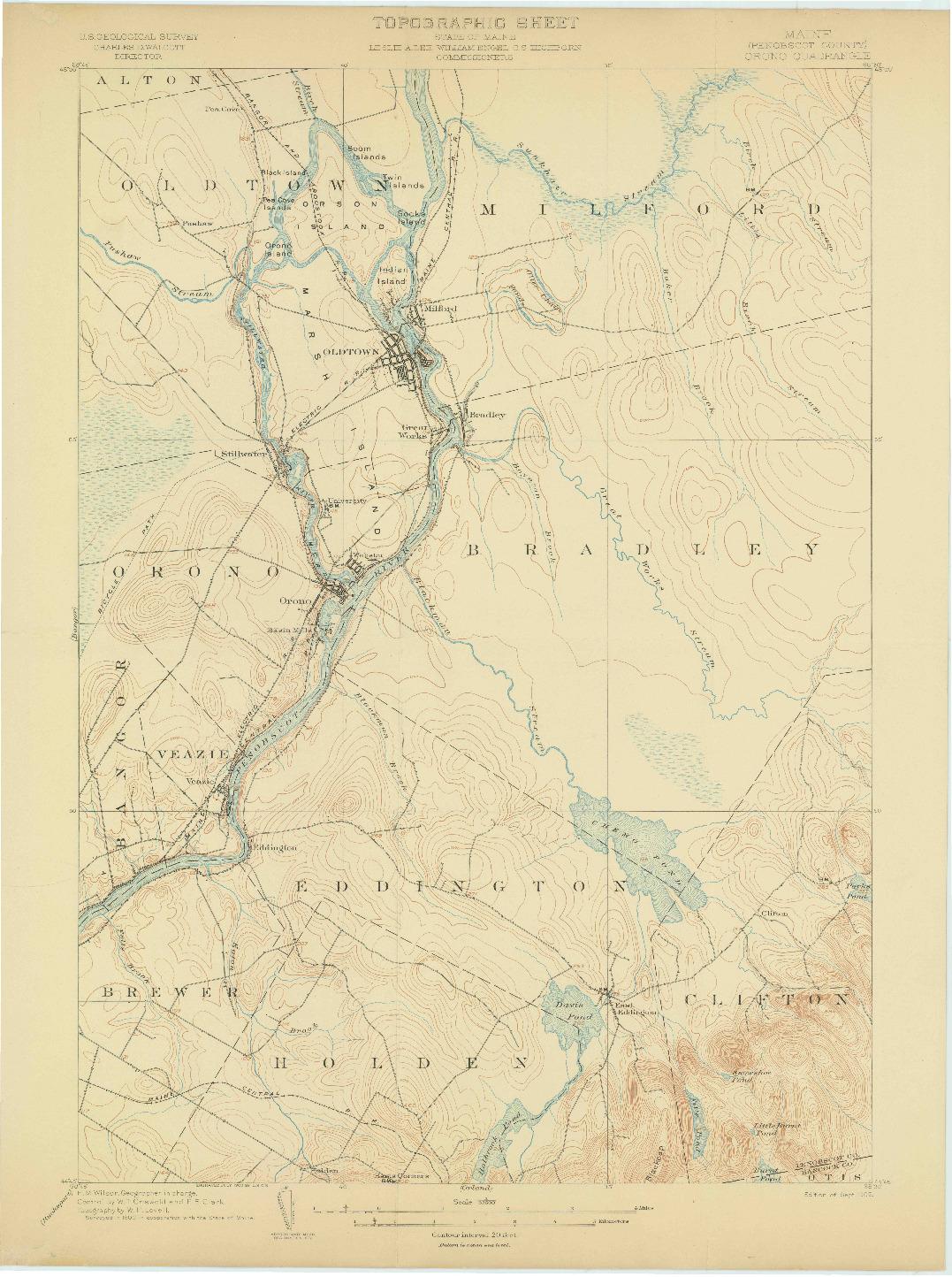 USGS 1:62500-SCALE QUADRANGLE FOR ORONO, ME 1902