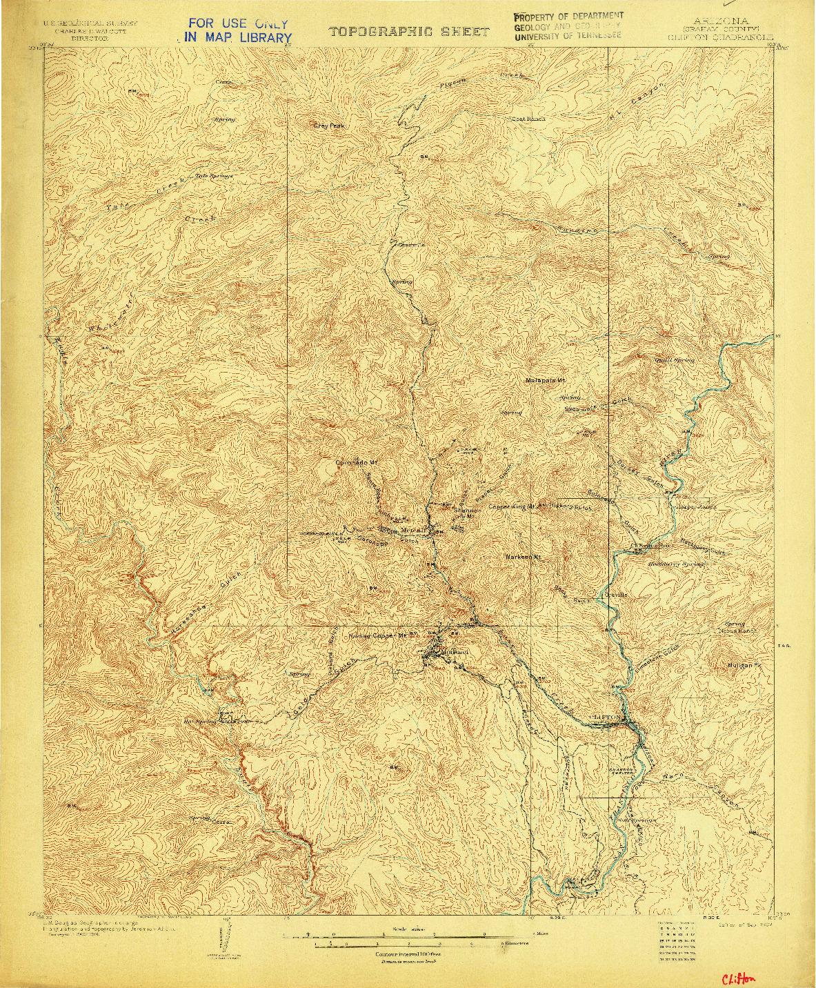 USGS 1:62500-SCALE QUADRANGLE FOR CLIFTON, AZ 1902