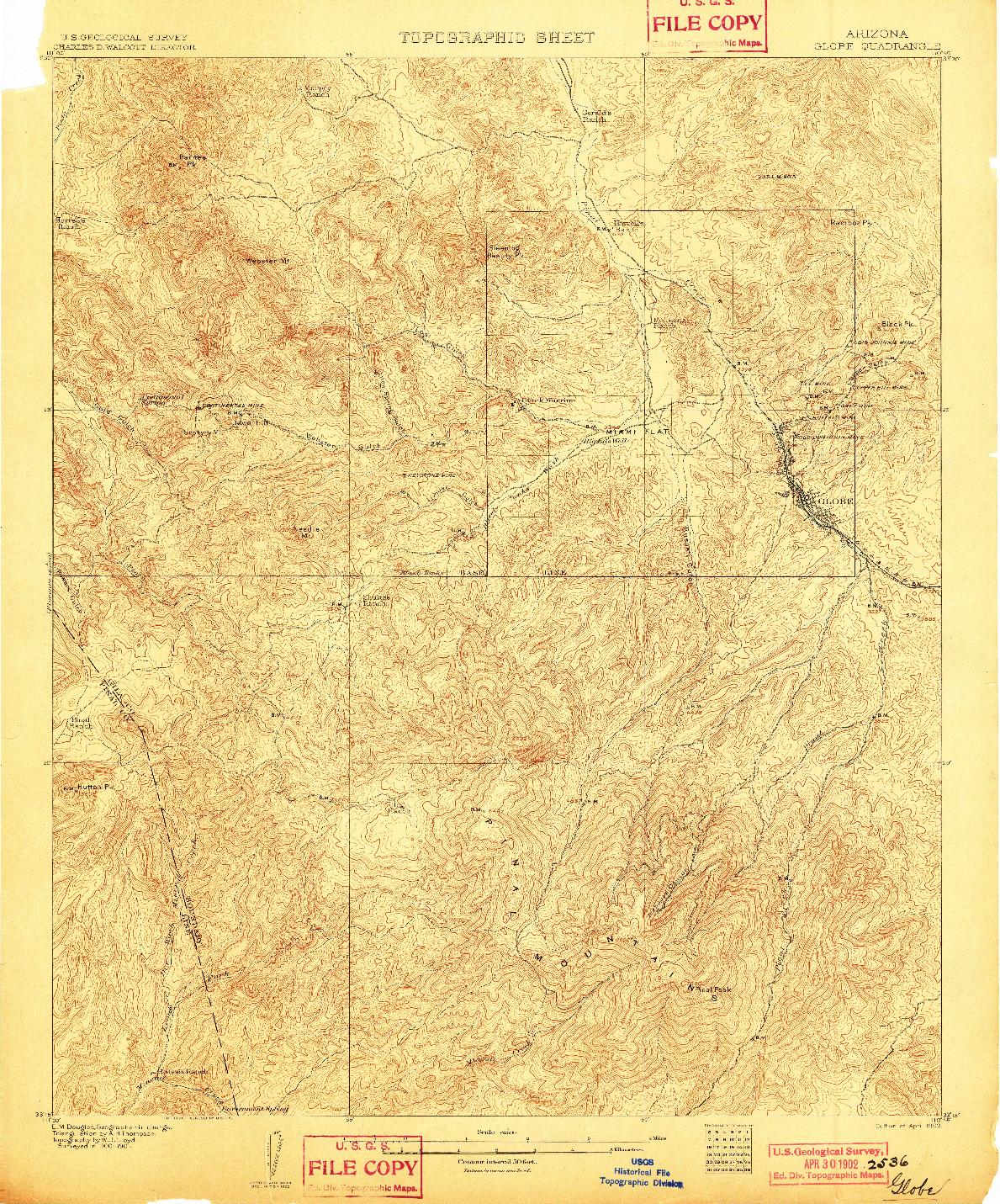 USGS 1:62500-SCALE QUADRANGLE FOR GLOBE, AZ 1902